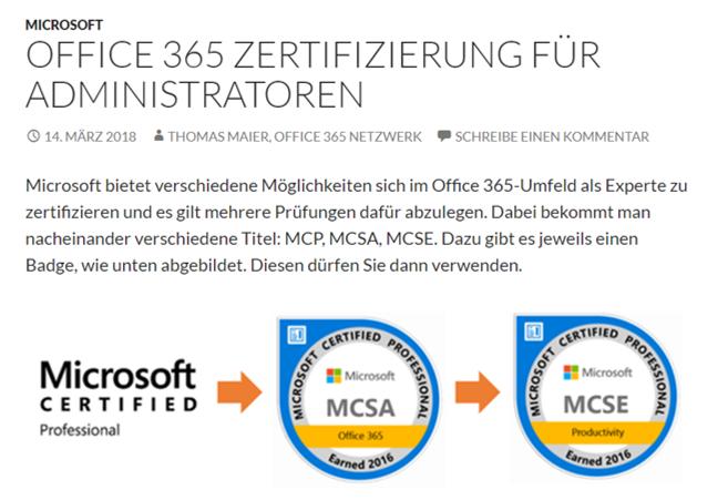 Zertifizierungsportal – Office 365 Zertifizierung für Administratoren