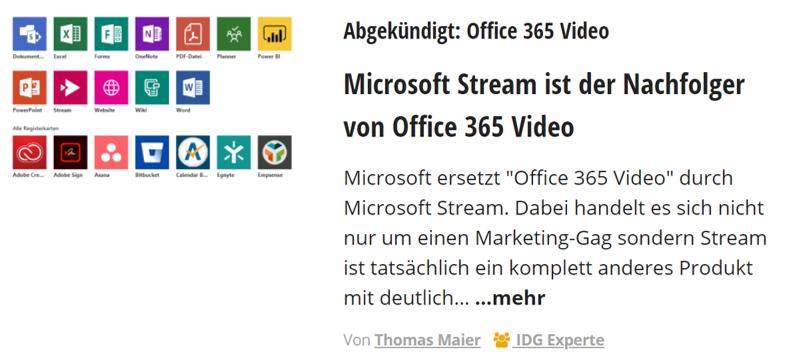 Computerwoche – Microsoft Stream ist der Nachfolger von Office 365 Video