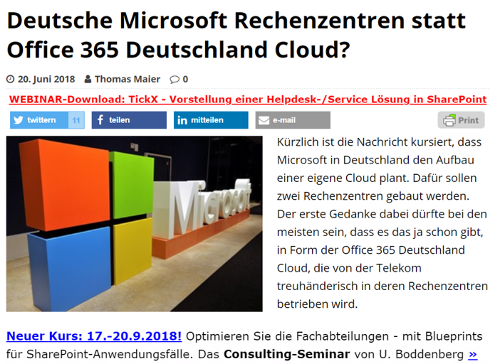 SharePoint360 – Deutsche Microsoft Rechenzentren statt Office 365 Deutschland Cloud?