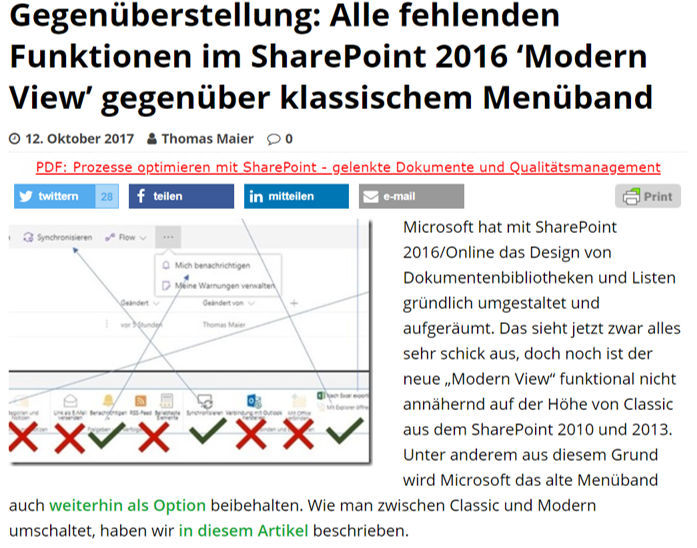 SharePoint360 – Gegenüberstellung: Alle fehlenden Funktionen im SharePoint 2016 'Modern View' gegenüber klassischem Menüband