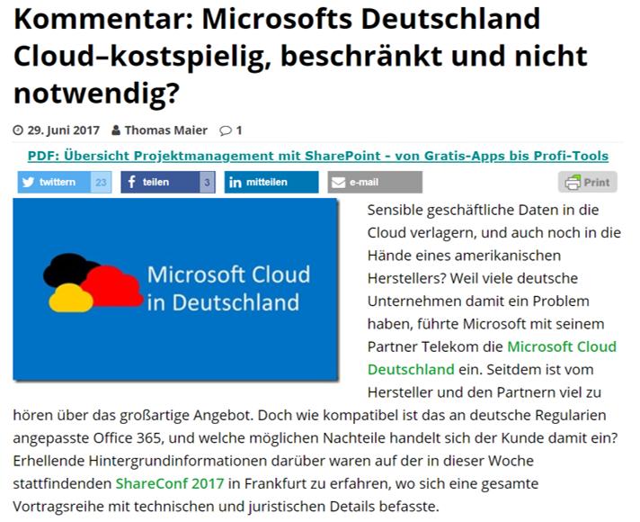 SharePoint360 – Kommentar: Microsofts Deutschland Cloud–kostspielig, beschränkt und nicht notwendig?