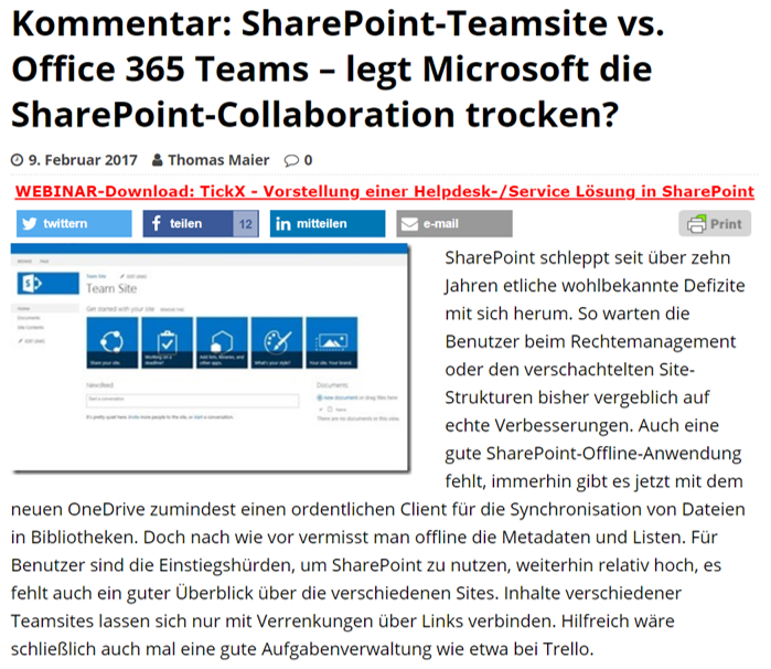 SharePoint360 – Kommentar: SharePoint-Teamsite vs. Office 365 Teams – legt Microsoft die SharePoint-Collaboration trocken?