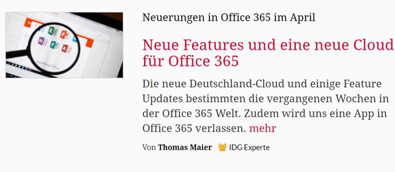 CIO – Neue Features und eine neue Cloud für Office 365