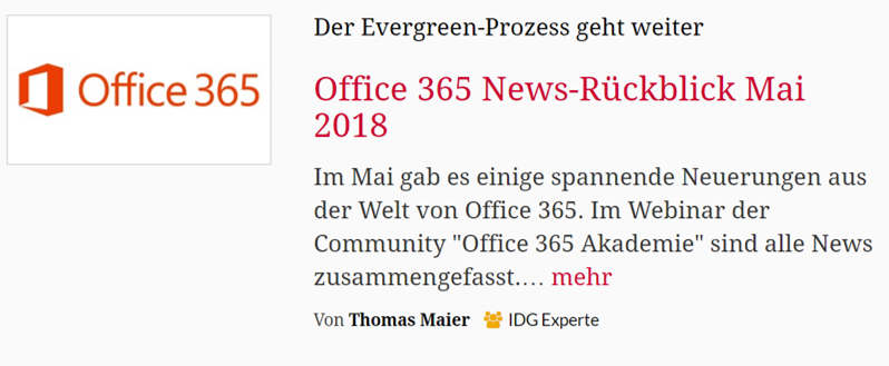 CIO – Office 365 News-Rückblick Mai 2018