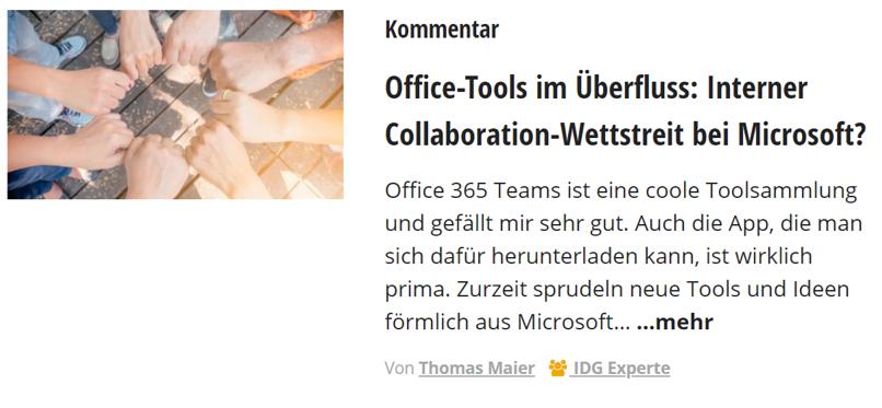 Computerwoche – Office-Tools im Überfluss: Interner Collaboration-Wettstreit bei Microsoft?