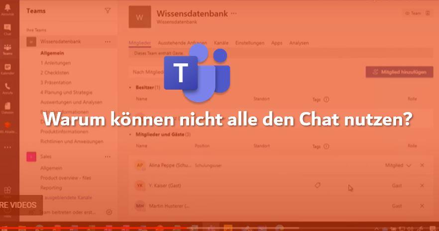 """Microsoft 365 Teams Logo mit dem Text """"Warum können nicht alle den Chat nutzen?"""""""