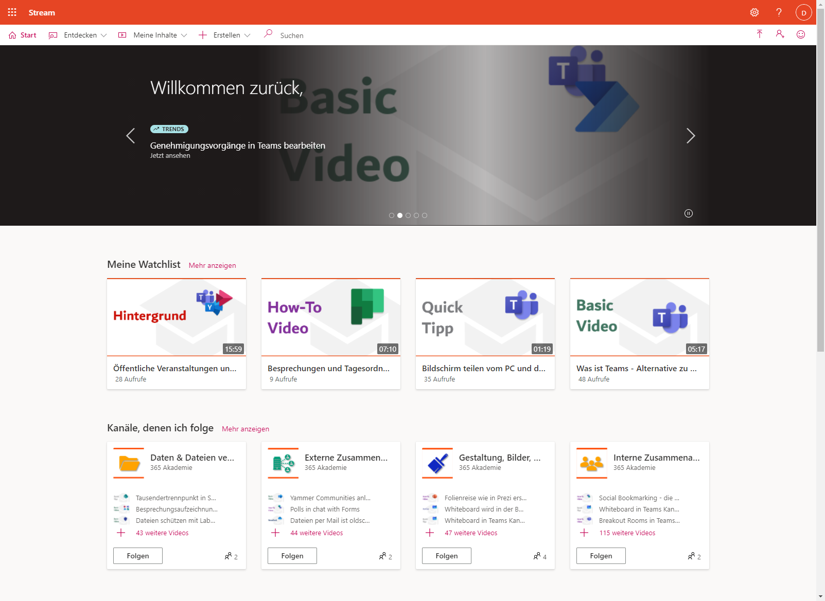 Screenshot aus Microsoft Stream