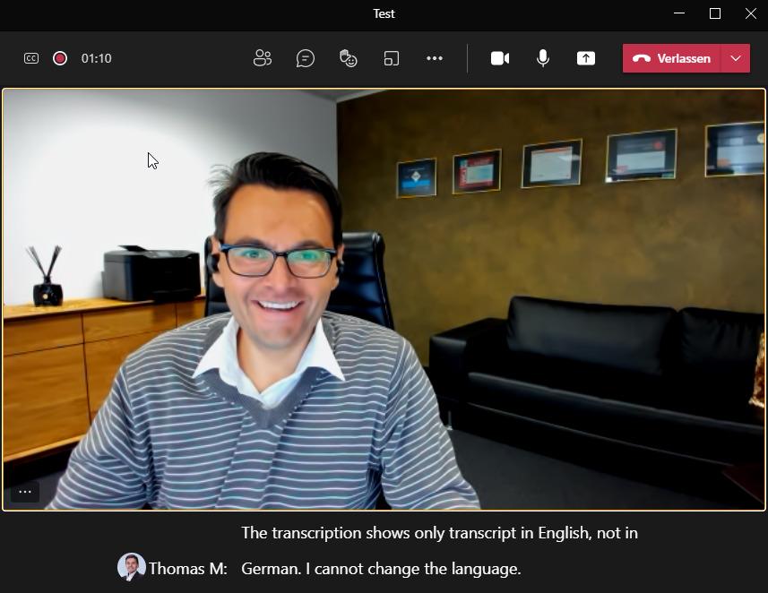 Teams kann in Besprechungen künftig den Live Untertitel auch auf deutsch erkennen