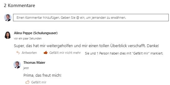 Kommentare Screenshot